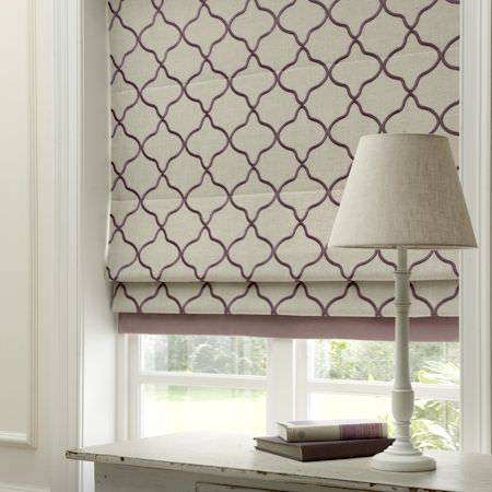 Clarke and Clarke -  Bukhara Fabric Collection - Cream and purple patterned roman blind