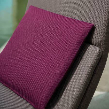 Clarke and Clarke -  Cadiz Fabric Collection - Textured cotton purple cushion and taupe chair
