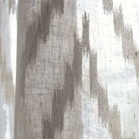 Clarke and Clarke -  Cadoro Fabric Collection - Thin grey and cream fabric with wide, rough zigzag stripes
