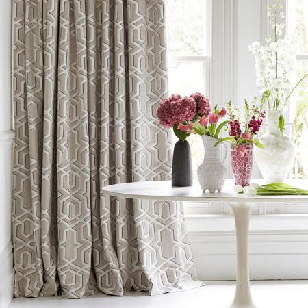 Clarke and Clarke -  Chateau Fabric Collection - Luxurious curtain dyed in dark beige with a modern decorative pattern in lighter shade of beige