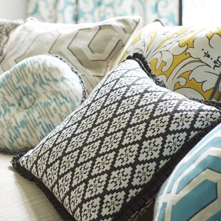 Clarke and Clarke -  Chateau Fabric Collection - A collection of modern decorative cushions featuring different designs ranging from geometric to abstract