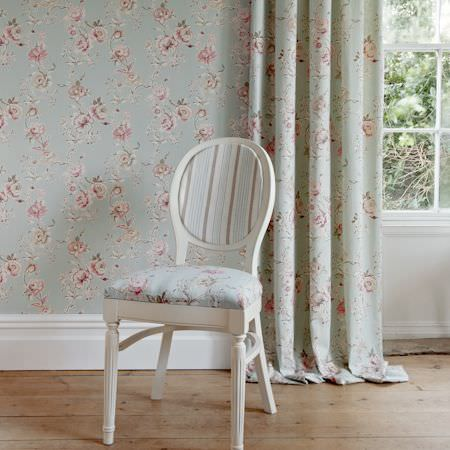 Clarke and Clarke -  Clarisse Fabric Collection - Pale blue curtain with vintage floral pattern and upholstered chair