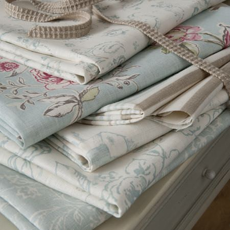 Clarke and Clarke -  Clarisse Fabric Collection - Pale blue and white floral fabrics