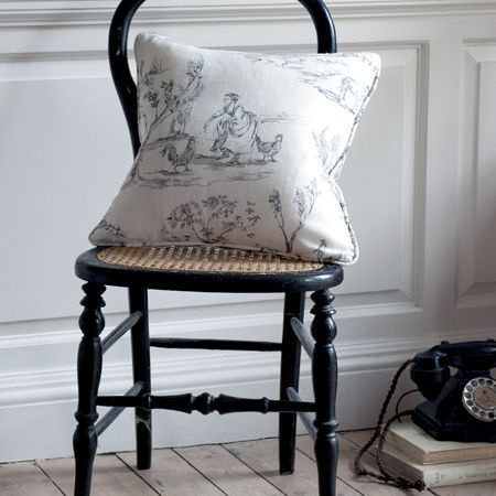 Clarke and Clarke -  Clarisse Fabric Collection - White cushion with black vintage pattern