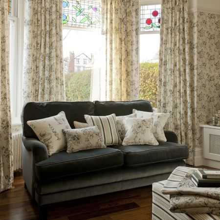 Clarke and Clarke -  Clarisse Fabric Collection - Cream vintage floral curtains with coordinating cushions