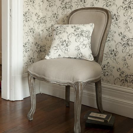 Clarke and Clarke -  Clarisse Fabric Collection - Cream cushion with grey swirling flower pattern and matching wallpaper