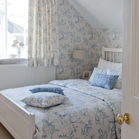 Clarke and Clarke -  Clarisse Fabric Collection - Blue and white patterned duvet cover with matching cushions