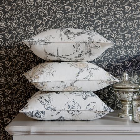Clarke and Clarke -  Clarisse Fabric Collection - Cream patterned cushions with dark grey country flower design