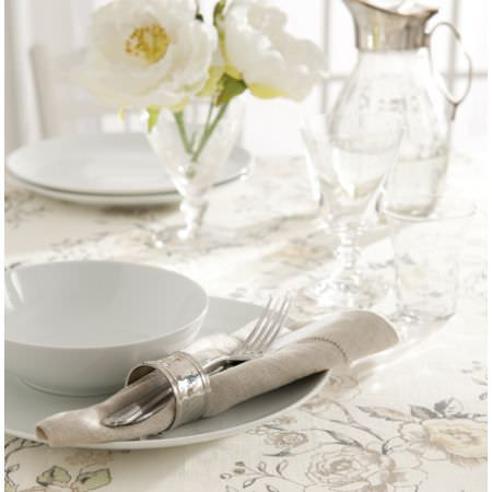Clarke and Clarke -  Clarisse Fabric Collection - Cream floral tablecloth