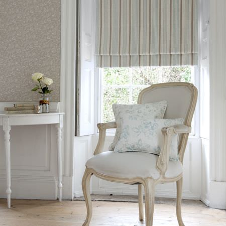Clarke and Clarke -  Clarisse Fabric Collection - Pale blue and neutral striped roman blind and white floral cushions
