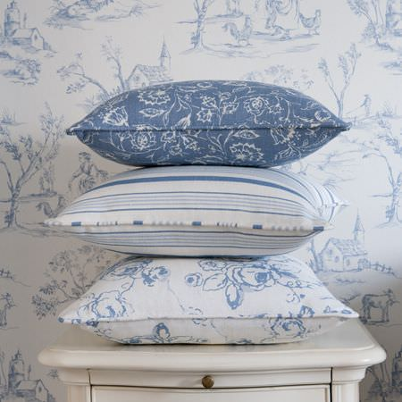 Clarke and Clarke -  Clarisse Fabric Collection - Blue and white floral and stripey cushions