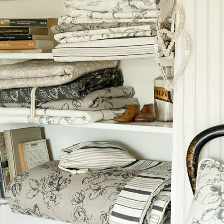 Clarke and Clarke -  Clarisse Fabric Collection - Neutral floral and striped fabrics from the Clarisse fabric collection