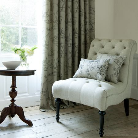 Clarke and Clarke -  Clarisse Fabric Collection - Cream floral patterned curtain and cushion