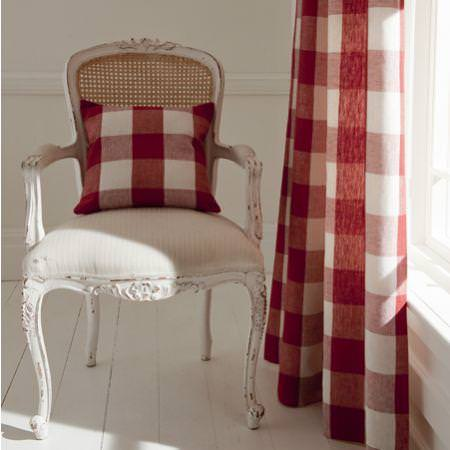 Clarke and Clarke -  Coastal Linens Fabric Collection - Large red gingham check curtain and cushion