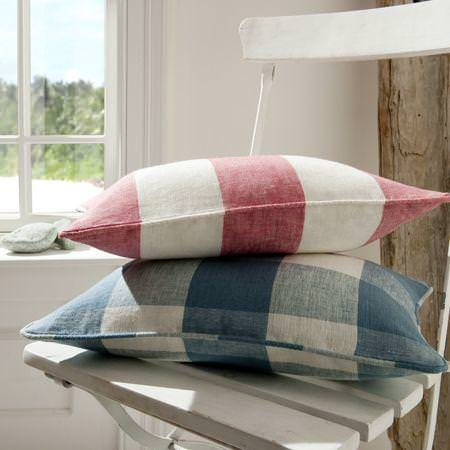 Clarke and Clarke -  Coastal Linens Fabric Collection - Pink and blue large check patterned linen cushions