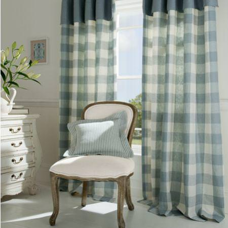 Clarke and Clarke -  Coastal Linens Fabric Collection - Pale blue and white checked curtains and valance with narrow striped cushion