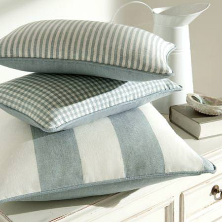 Clarke and Clarke -  Coastal Linens Fabric Collection - Pale blue and white cushion with stripe and check patterns