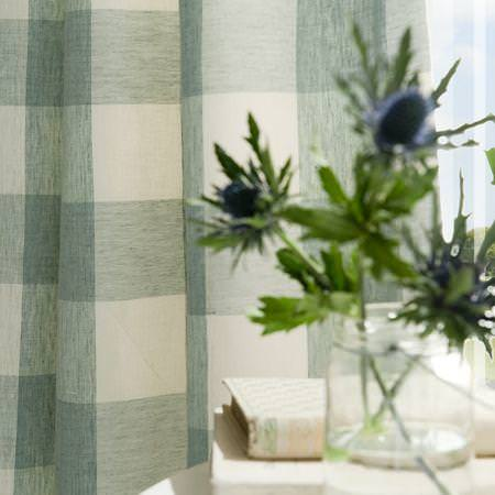 Clarke and Clarke -  Coastal Linens Fabric Collection - Pale blue and white gingham checked curtain
