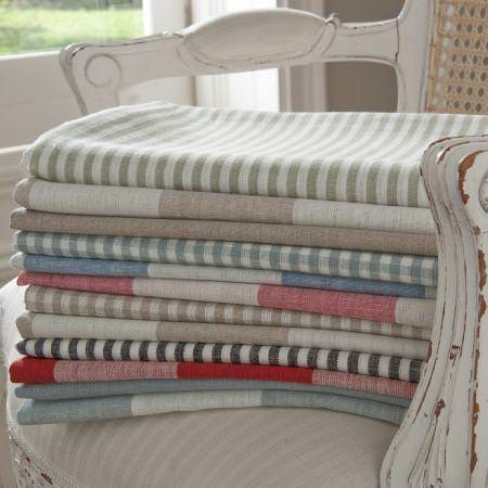 Clarke and Clarke -  Coastal Linens Fabric Collection - Checked and striped pattered fabrics from the Coastal Linens fabric collection