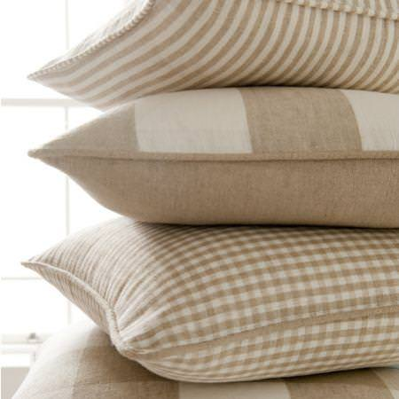 Clarke and Clarke -  Coastal Linens Fabric Collection - Beige and white cushion with stripe and check patterns