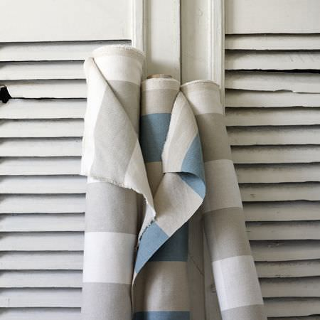 Clarke and Clarke -  Country Linens Fabric Collection - Two bolts of fabric with even grey and off-white stripes, and one bolt of fabric with even grey and blue stripes