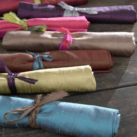 Clarke and Clarke -  Dupion Fabric Collection - Coloured silk fabric rolls