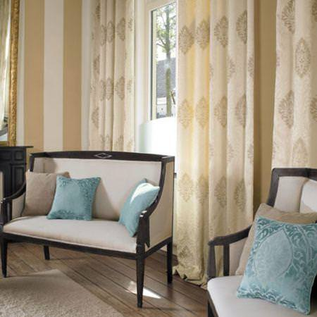 Clarke and Clarke -  Eton Fabric Collection - Cream chenille curtains with blue and neutral cushions