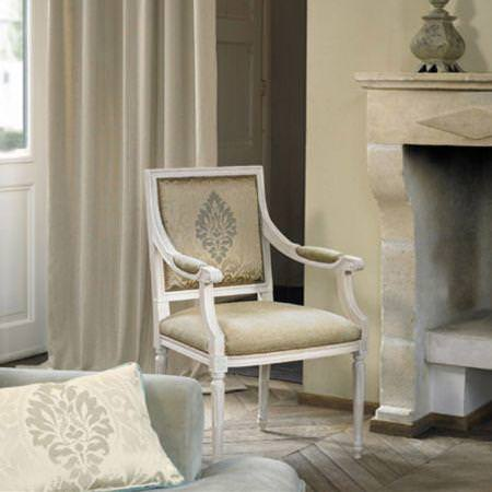 Clarke and Clarke -  Eton Fabric Collection - Cream patterned cushion and upholstered chair