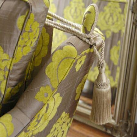 Clarke and Clarke -  Extravagance Fabric Collection - Neutral and green chenille fabric upholstery