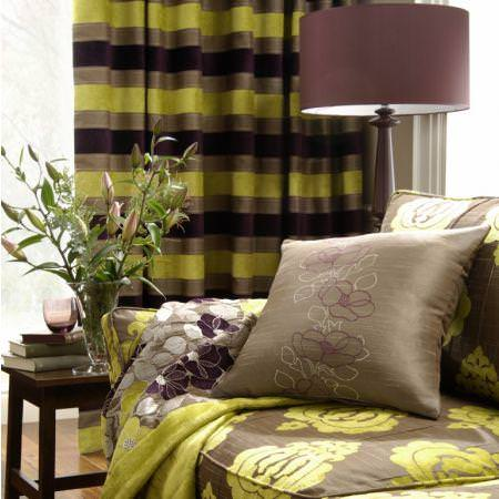 Clarke and Clarke -  Extravagance Fabric Collection - Green and brown horizontal striped curtains, modern floral sofa cover and cushion