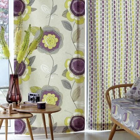 Clarke and Clarke -  Festival Fabric Collection - Curtains, cushions and upholstery in oval and floral patterns in a contemporary setting