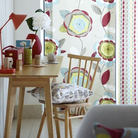 Clarke and Clarke -  Festival Fabric Collection - Blue, red, green and grey curtains and cushions