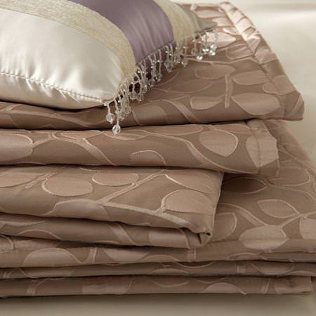 Clarke and Clarke -  Firenze Fabric Collection - Satin brown modern leaf print fabric and striped decorative cushion