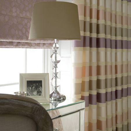 Clarke and Clarke -  Firenze Fabric Collection - Neutral striped satin curtain and floral roman blind