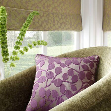 Clarke and Clarke -  Firenze Fabric Collection - Modern floral roman blind and purple cushion
