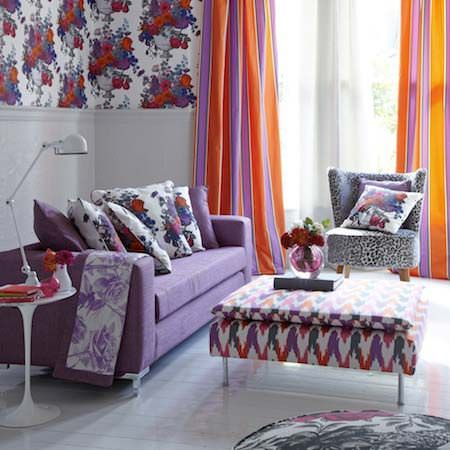 Clarke and Clarke -  Floribunda Fabric Collection - Curtains, cushions, upholstery and quilts, in red white and purple