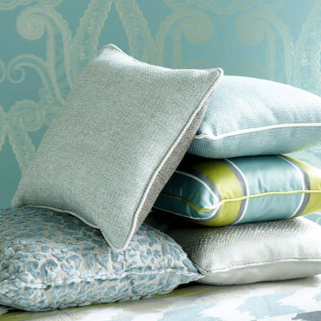 Clarke and Clarke -  Floribunda Fabric Collection - A fresh, blue white and green secltion of textured and striped cushion