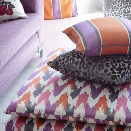 Clarke and Clarke -  Floribunda Fabric Collection - Leopard print, stripes and zigzag patterns in a retro style in red, pink and purple
