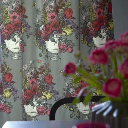 Clarke and Clarke -  Floribunda Fabric Collection - Curtains in colours of pink, red, blue and yellow in flower arrangement prints