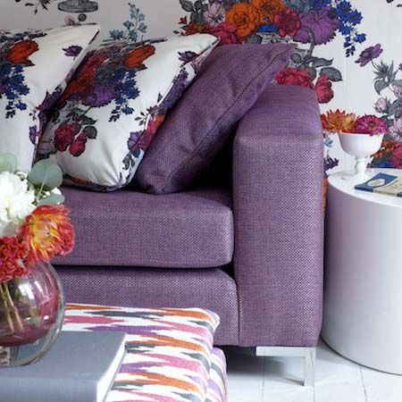Clarke and Clarke -  Floribunda Fabric Collection - Upholstery and cushions in a feminine, decorative setting, in colours of purple, red and orange