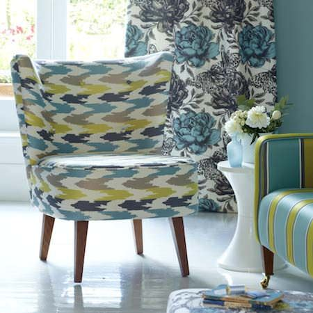 Clarke and Clarke -  Floribunda Fabric Collection - Upholstered chairs, sofas and curtains in light blues, greens and white