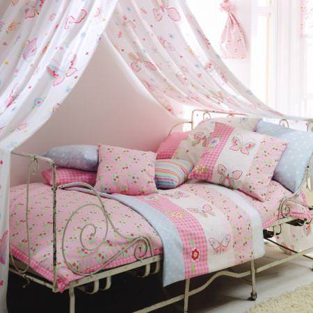 Clarke and Clarke -  Flutterby Fabric Collection - Pale pink butterfly stripe bedspread, throw and cushions with white canopy
