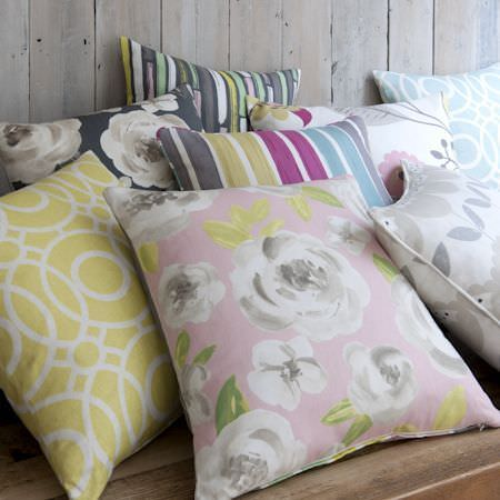 Clarke and Clarke -  Folia Fabric Collection - Assortment of eight different coloured scatter cushions with circle designs, floral designs and stripes