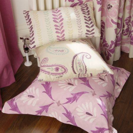 Clarke and Clarke -  Fresco Fabric Collection - Cream and pink floral leaf patterned cushions
