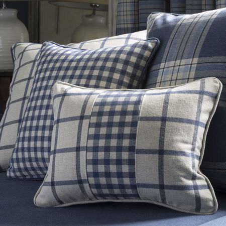 Clarke and Clarke -  Glenmore Fabric Collection - Cushions decorated with blue plaid design, blue chequered design or a combination of the two
