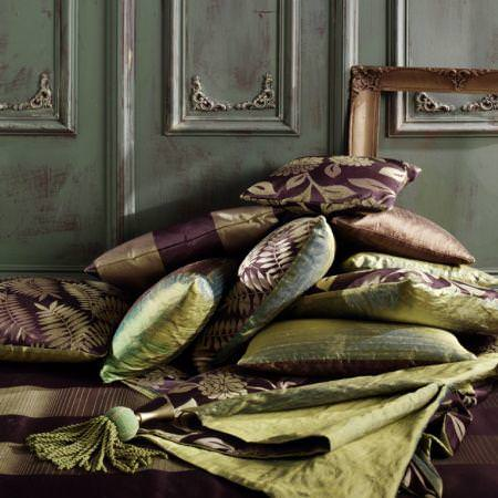Clarke and Clarke -  Grand Palais Fabric Collection - Brown and green satin cushions and fabrics