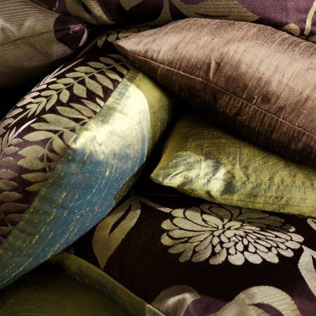 Clarke and Clarke -  Grand Palais Fabric Collection - Brown and green satin flower cushions