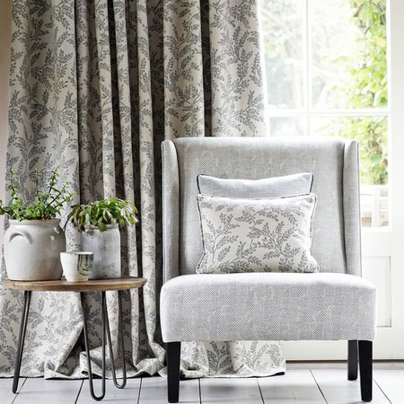 Clarke and Clarke -  Heritage Fabric Collection - Hard wearing dark cotton curtains with white flower design