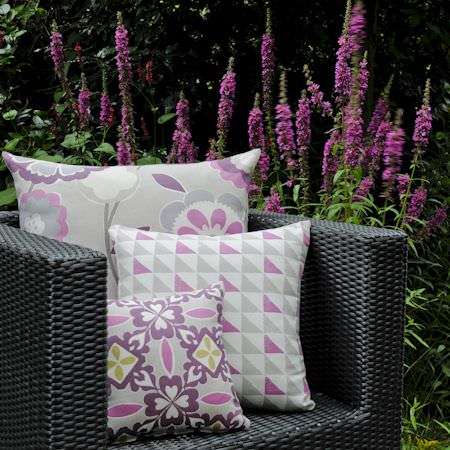 Clarke and Clarke -  Impressions Fabric Collection - Pink and purple modern printed cushions