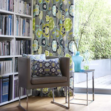 Clarke and Clarke -  Impressions Fabric Collection - Grey, green and blue modern flower pattern curtain and cushions